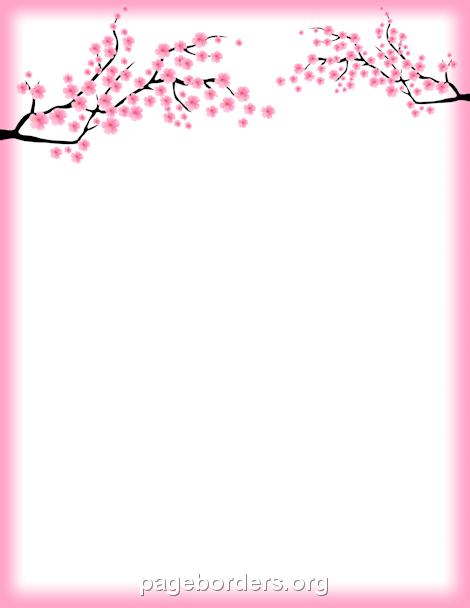 Cherry Blossom Border: Clip Art, Page Border, and Vector