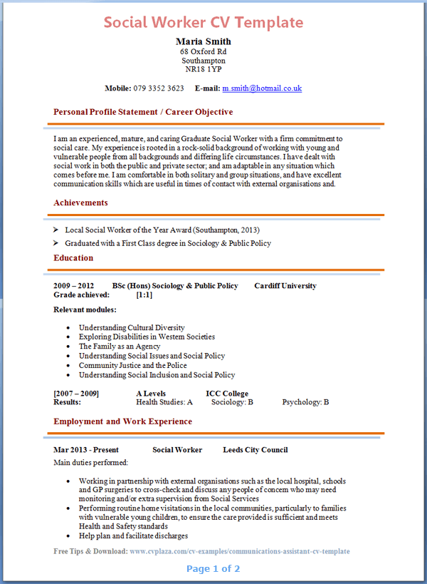 Cv Template Social Work Resume Examples