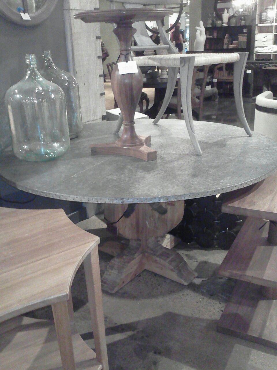 noir furnishings zinc top table  zinc table table