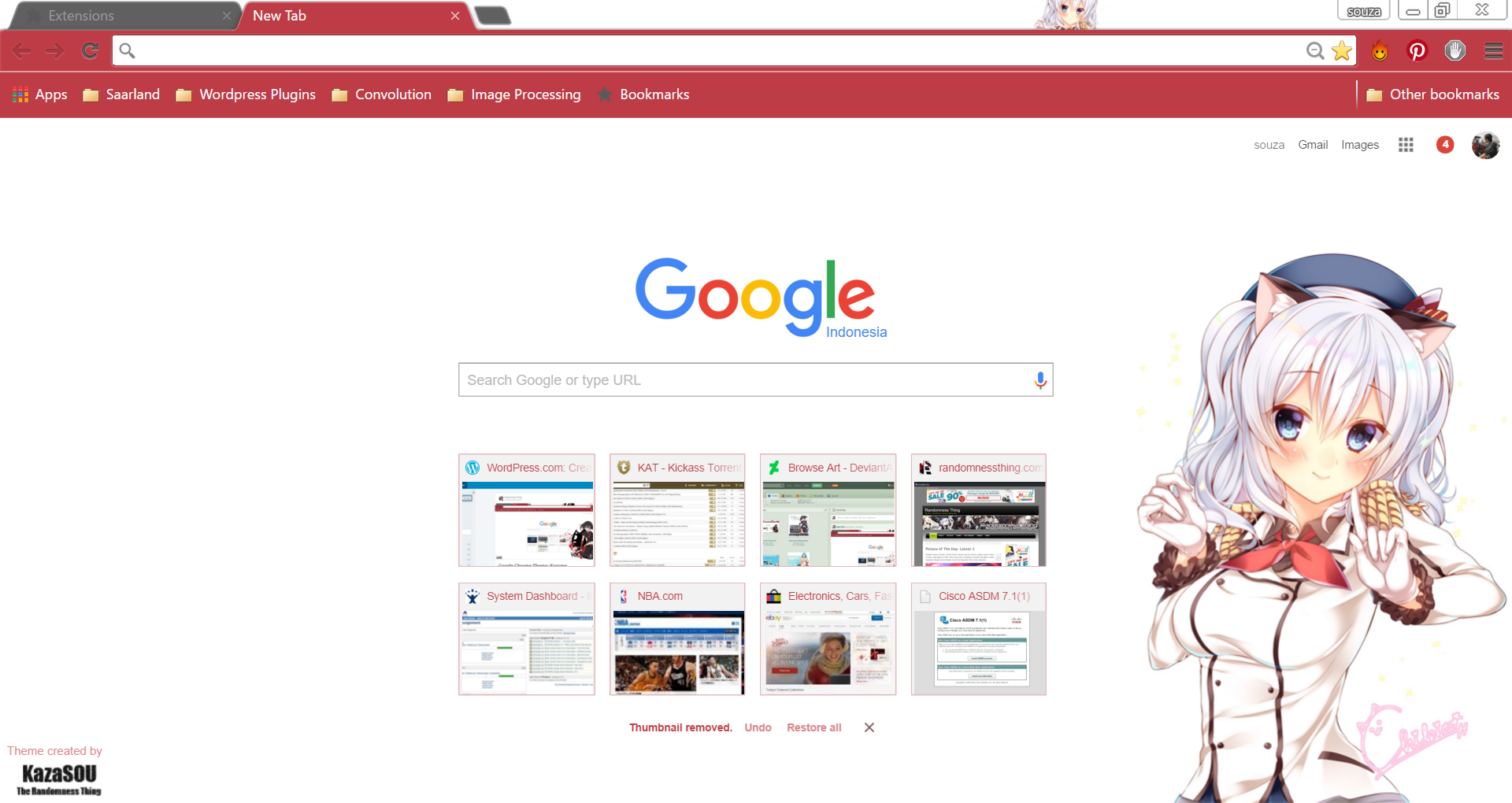 Google chrome themes and skins - Another Kashima Google Chrome Theme Needs To Be Done Since She Becomes The Highlight In This