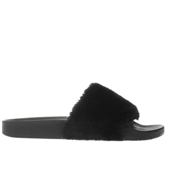 womens black schuh fuzzy sandals | schuh