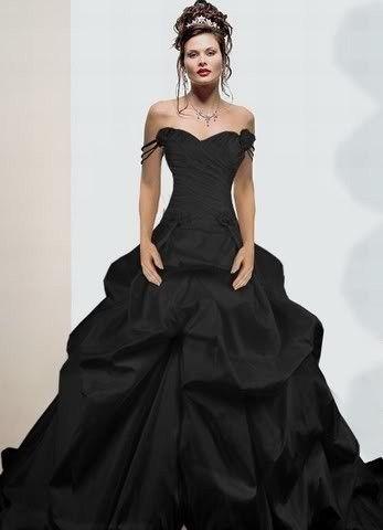 Zwarte trouwjurk kant