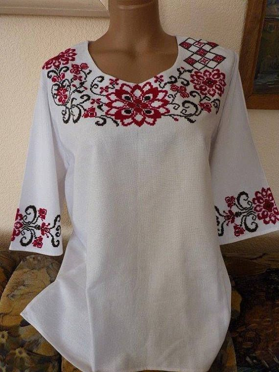 d5ea49287e Handmade Embroidered blouse Ornament Embroidery Shirt for women s Ukrainian  Vyshyvanka Ukrainian fa