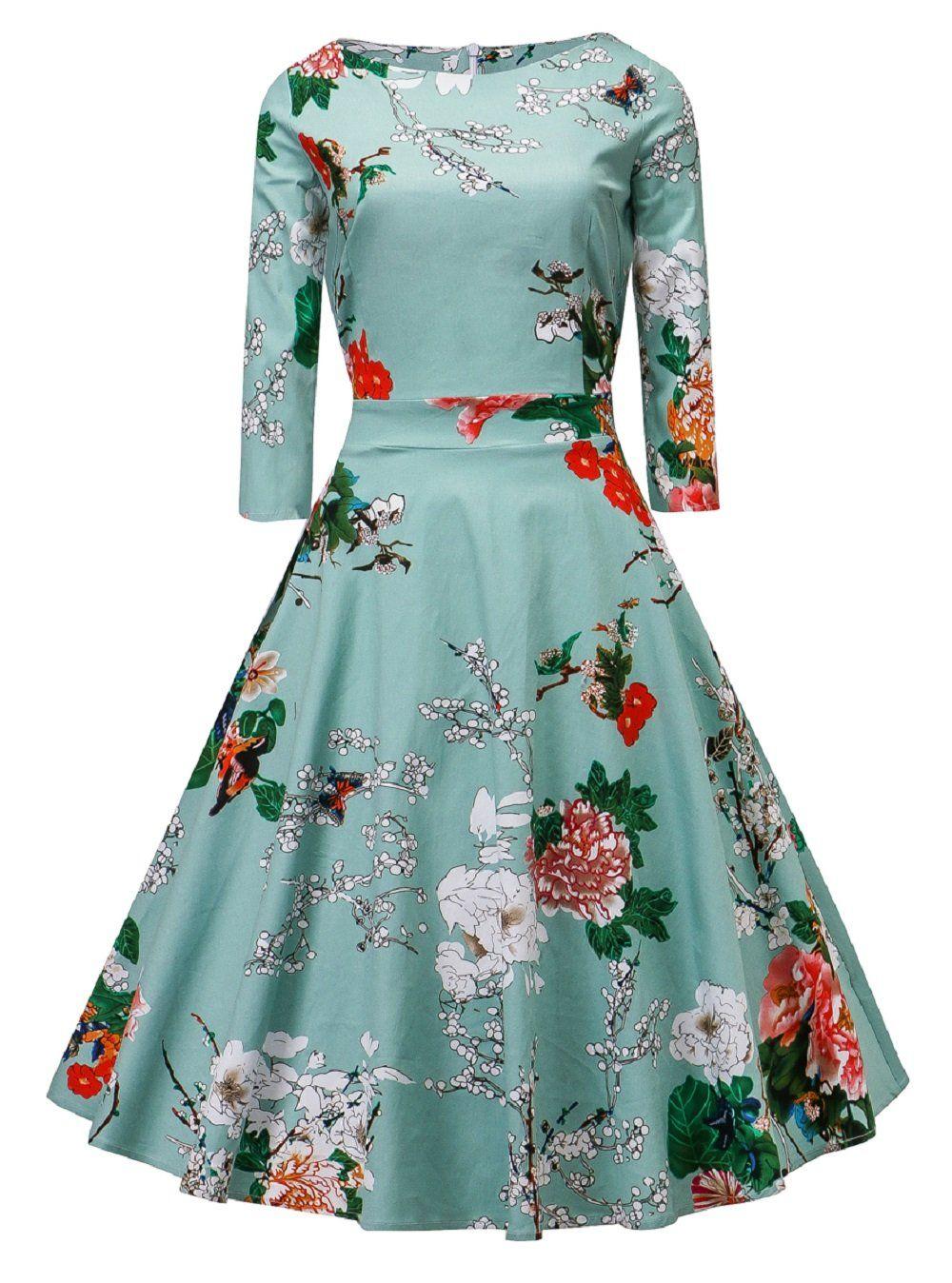 VOGUEMAX Vintage Dress Women Floral Half Sleeve Elegant Cocktail ...