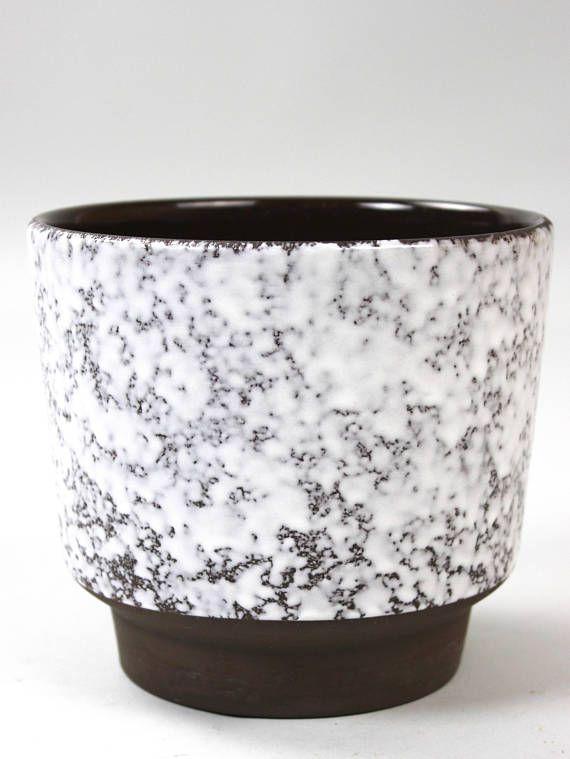 Vintage Blumentopf, Keramik Übertopf, Pflanzentopf Braun Weiß, Made ...