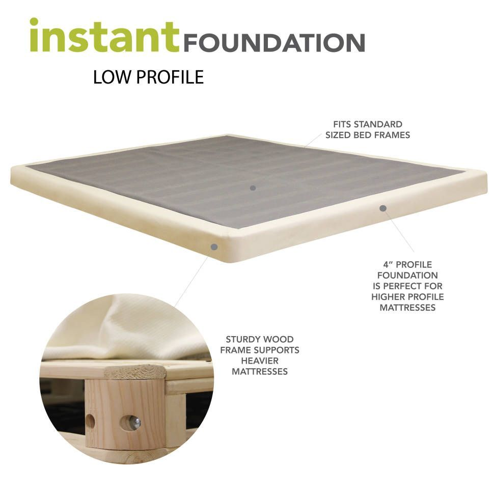 Low Profile 4 Wooden Box Spring Box Spring Mattress Foundations Low Profile