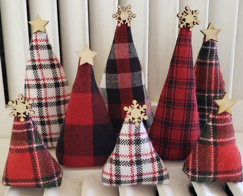 Lodge Trees Christmas Home Decor Rustic Buffalo Plaid Etsy Christmas Lodge Buffalo Plaid Christmas Fabric Christmas Trees