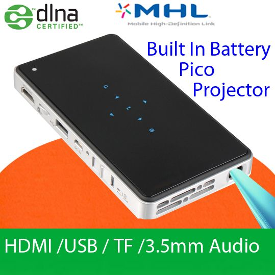 $359.00 (Buy here: http://appdeal.ru/d42g ) Hot Sell Built-in Battery DLP Projector HDMI MHL Video Projecteur Pico Pocket Digital LED Proyector Mini Beamer Office Display for just $359.00