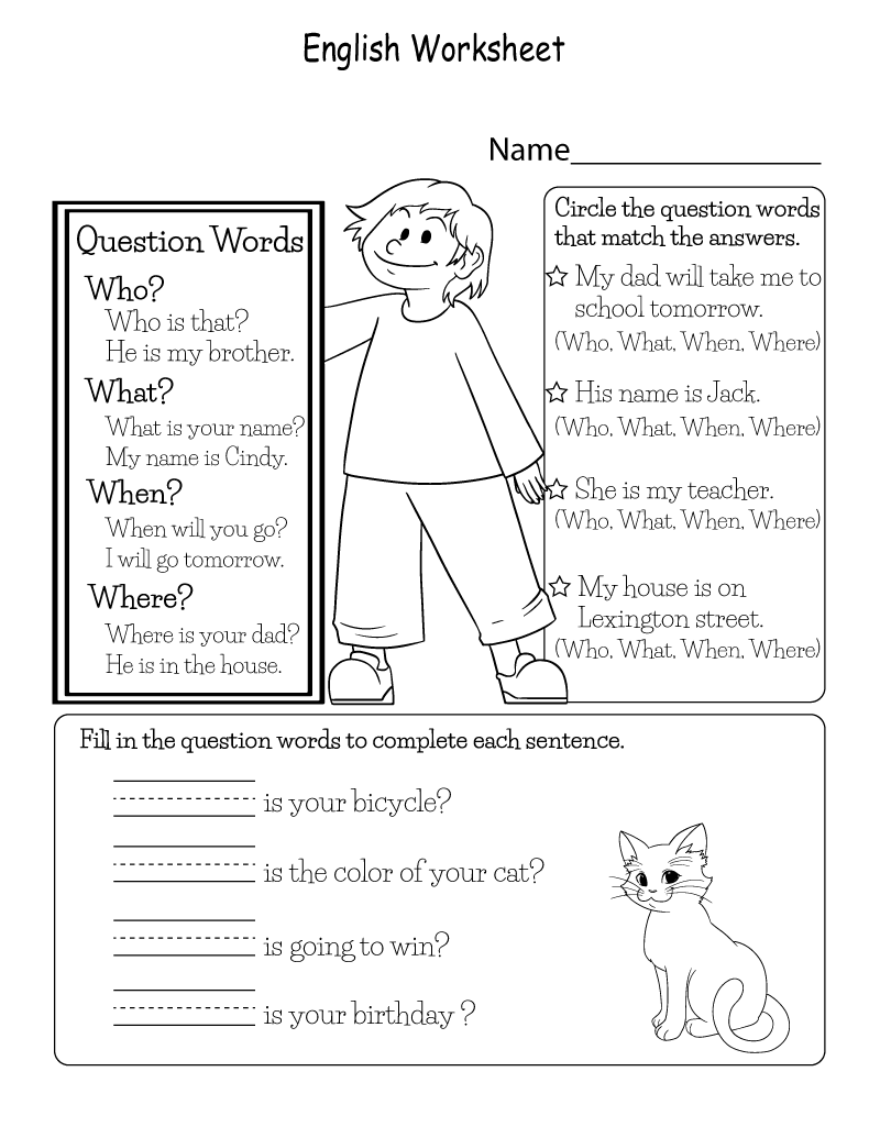 English Worksheets to Print Question | Learning Printable | Kids