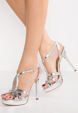 Sandali argentati con stringhe con tacco stiletto per donna hFKaEZoN