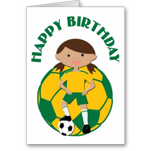 Soccer Girl 4 And Ball Green And Yellow Card Zazzle Com Cards Soccer Birthday Girls 4