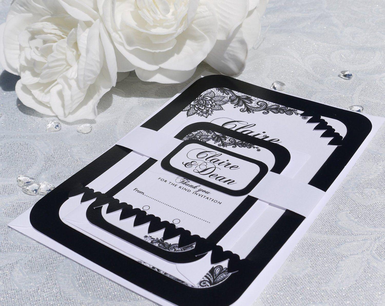 Personalised Luxury Wedding Invitation: Black & White Edition (100 ...