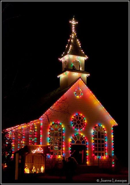 Christmas Lights Lighting Up A Church At Christmas All