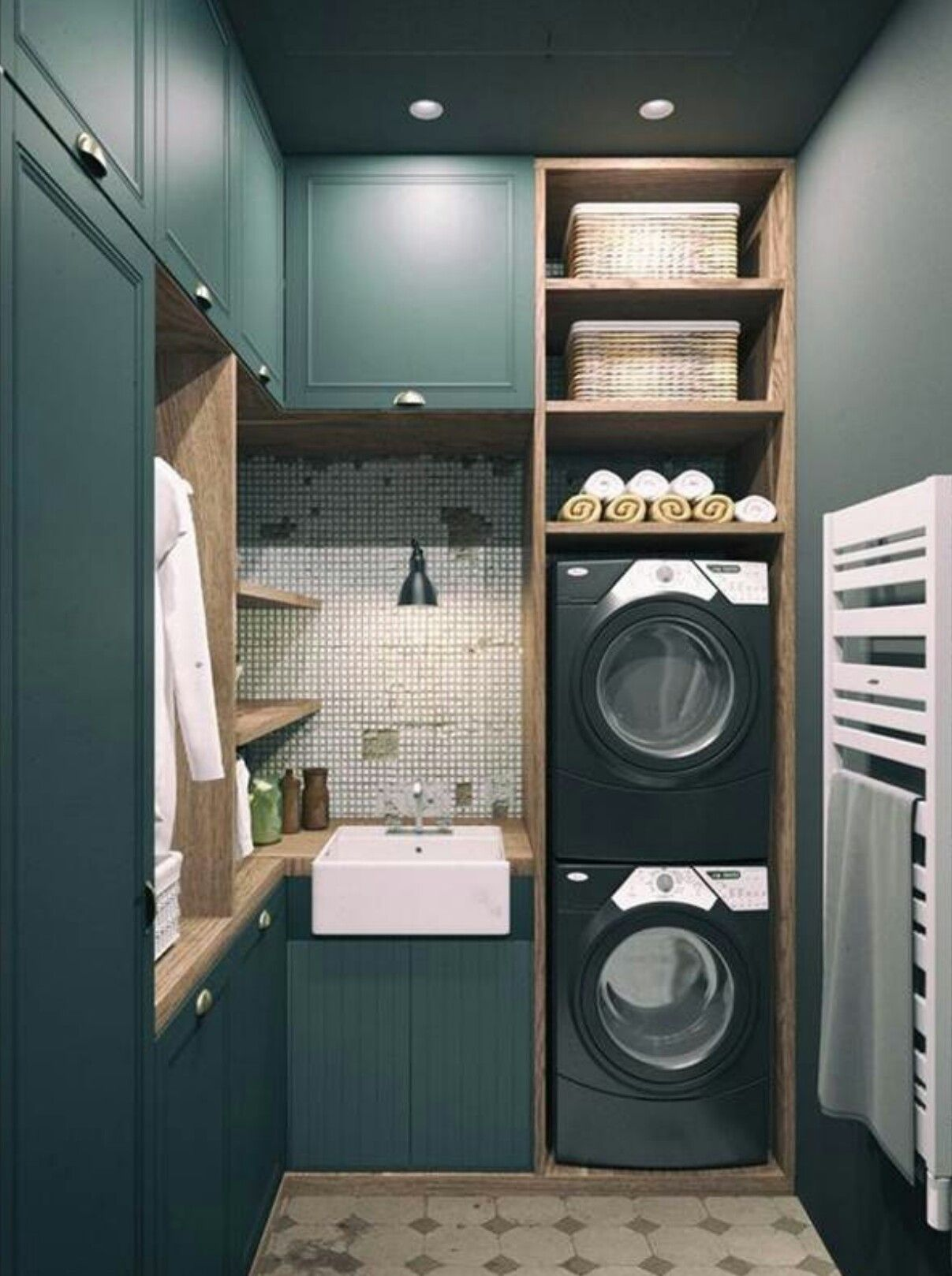 Laundry room and bathroom combo designs - The Chic Technique Modern Decor Meets Classical Features In Two Transitional Home Designs