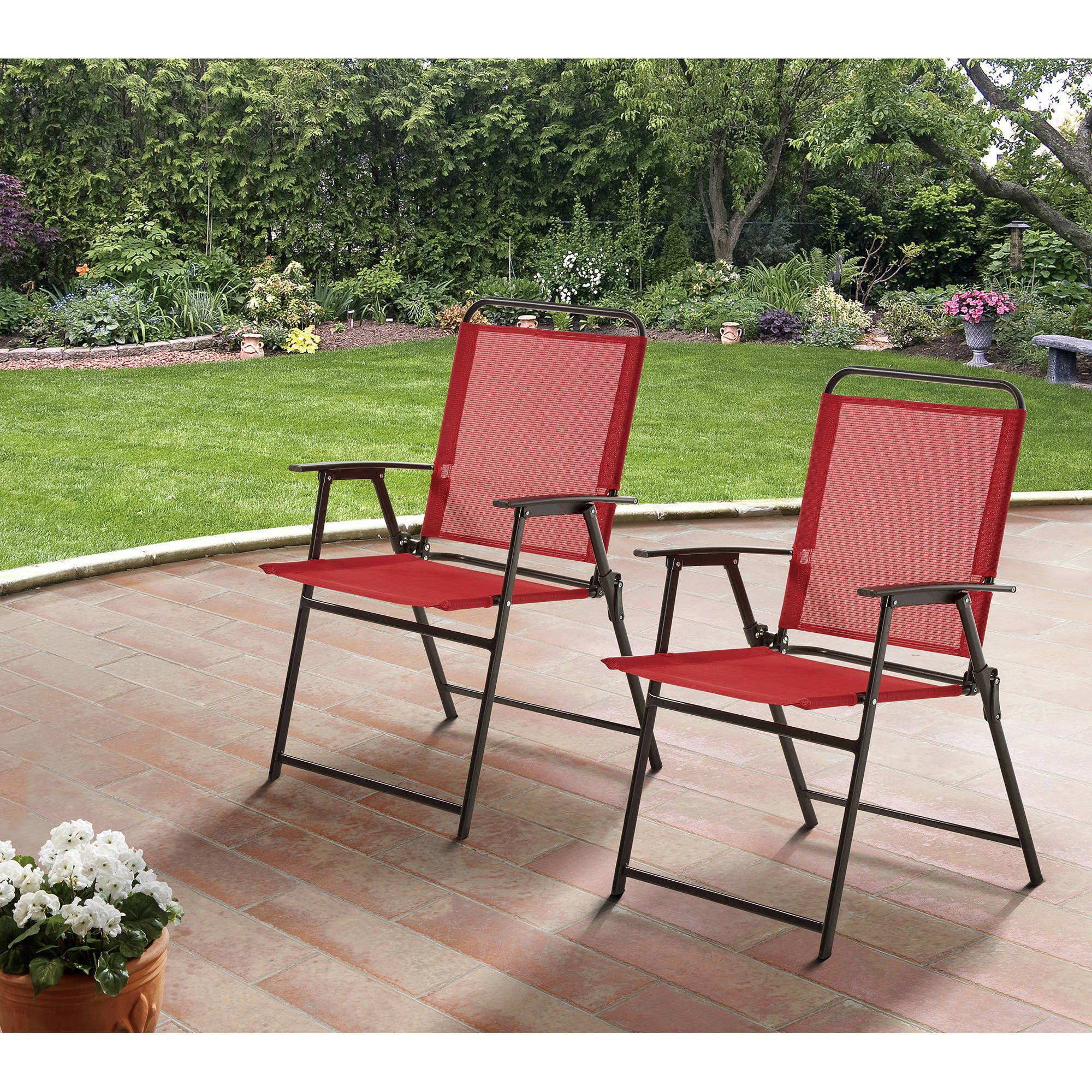 Remarkable Mainstays Pleasant Grove Sling Folding Chair Set Of 2 In Alphanode Cool Chair Designs And Ideas Alphanodeonline