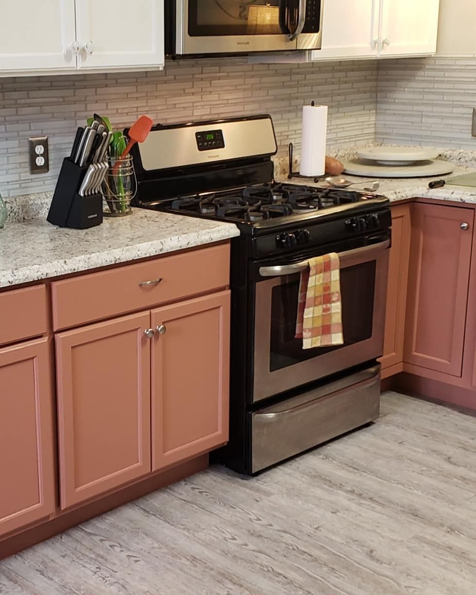 Painted Lower Cabinets Mars Red By Behr From Home Depot