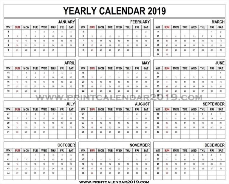 2019 Calendar Template With Week Numbers 2019 Calendar Calendar