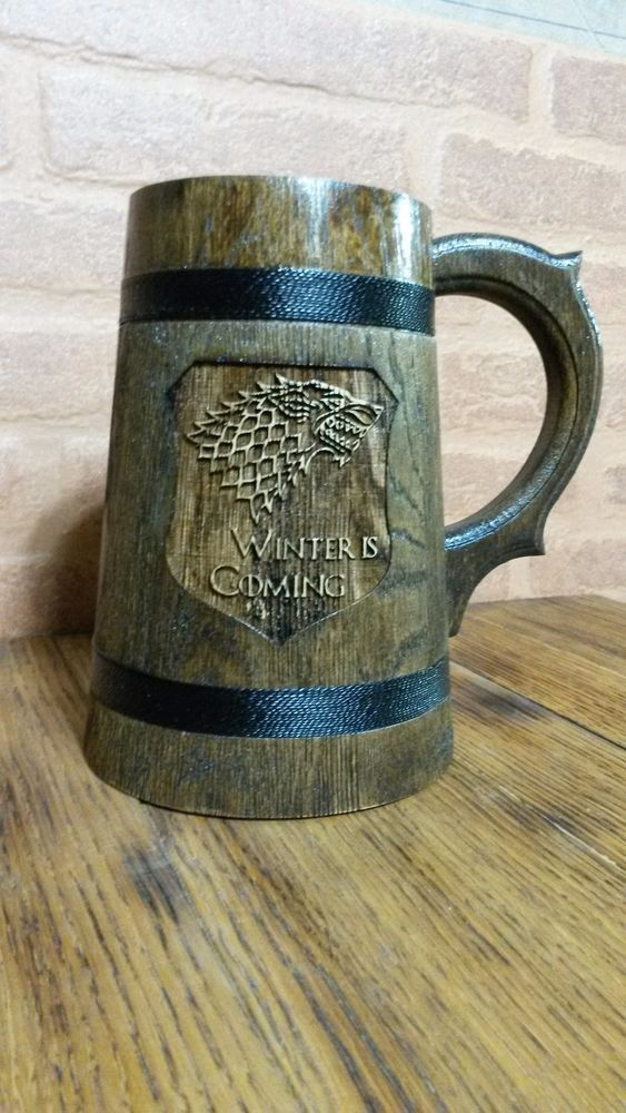Details About Winter Is Coming Wooden Beer Mug Game Of Thrones Gift