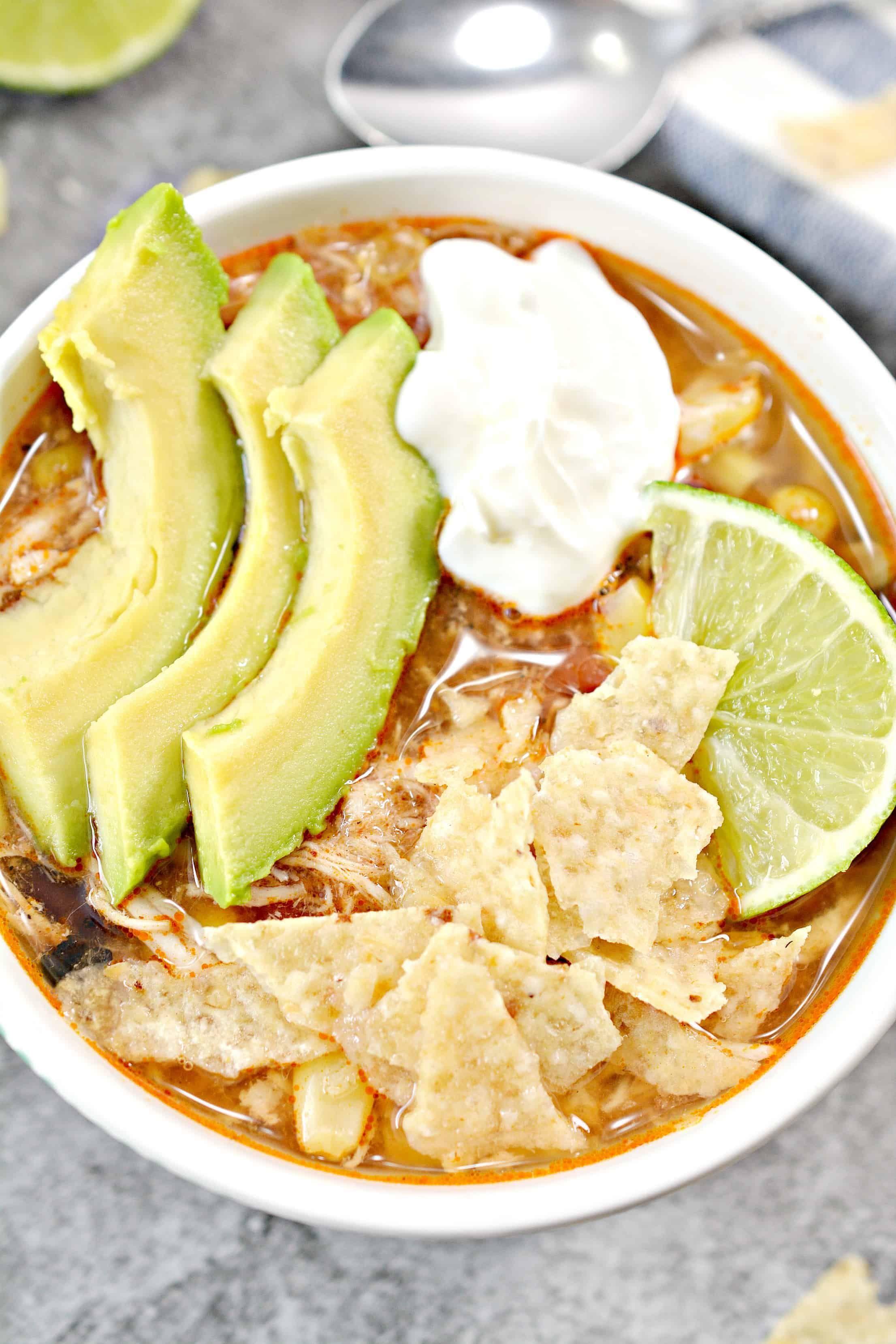 Instant Pot Chicken Tortilla Soup #chickentortillasoup