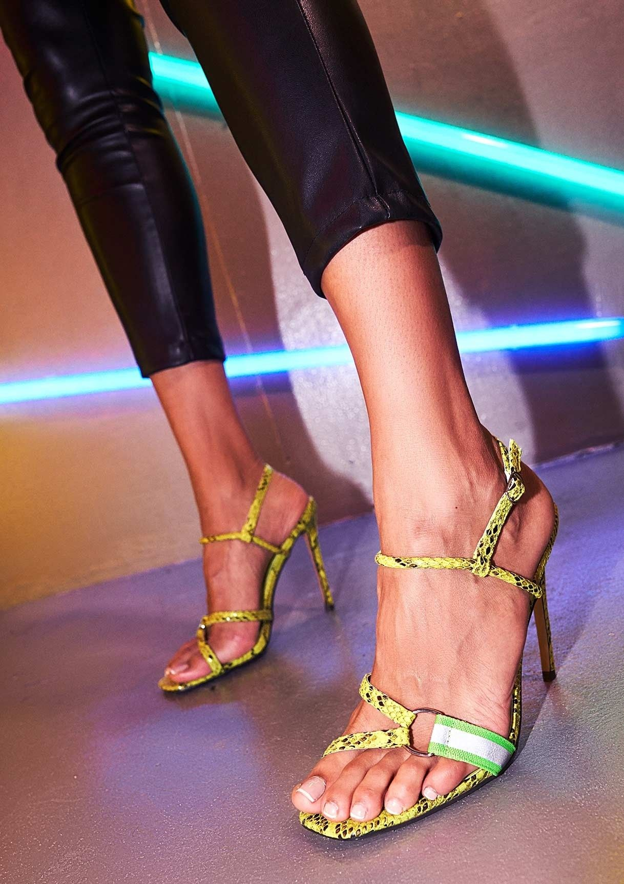 9fcc0f000f6 Missyempire - Zara Lime Green Snake Print Strappy Heels