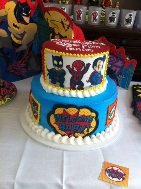 The Superhero Baby Shower Cake!