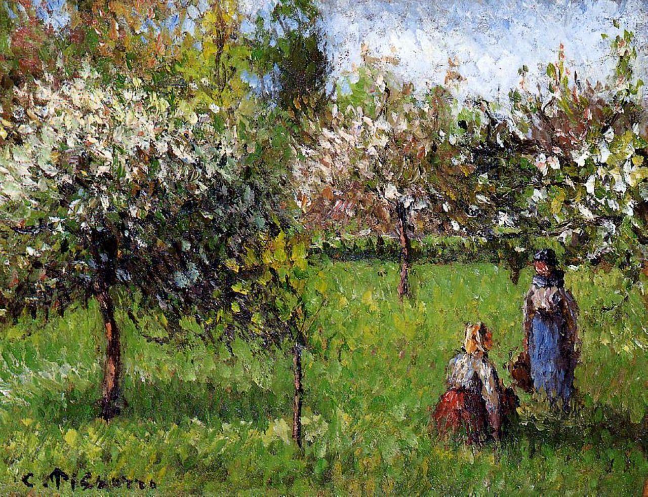 impressionism-art-blog:    Apple Blossoms Eragny via Camille Pissarro  Medium: oil on canvas