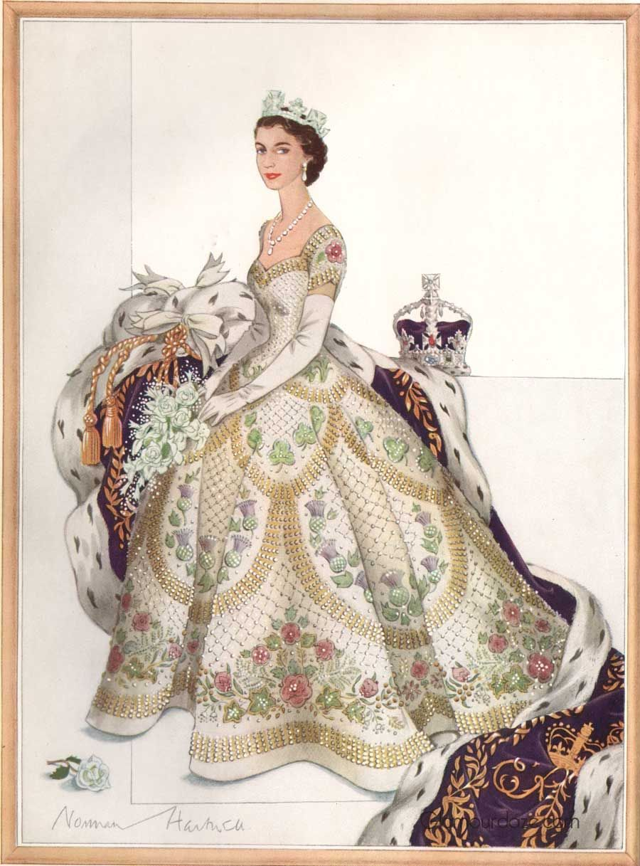 Norman-Hartnell-1953-Coronation-Dress-final-sketch. queen elizabeth ...