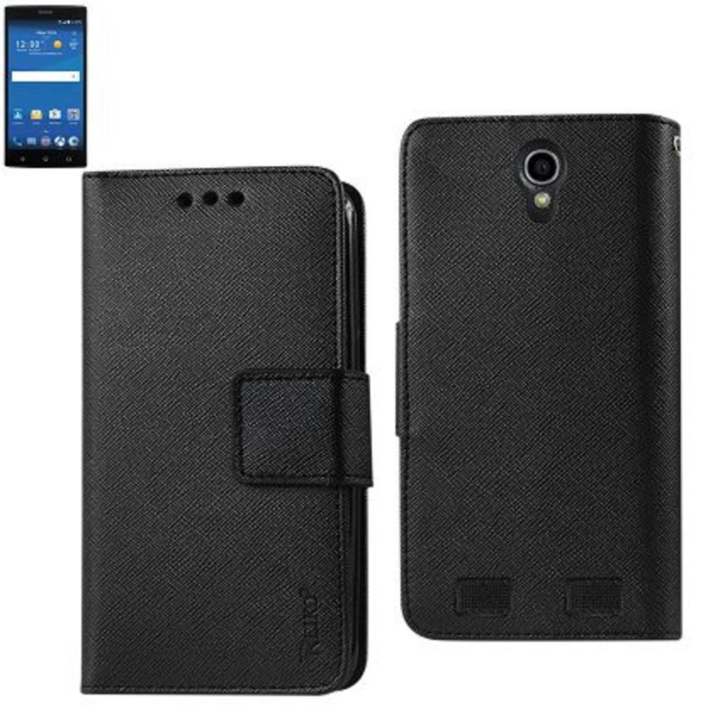 Reiko Wallet Case 3 In 1 For Zte Zmax2 Z958 Black With Interior Leather-Like Material And Polymer Cover