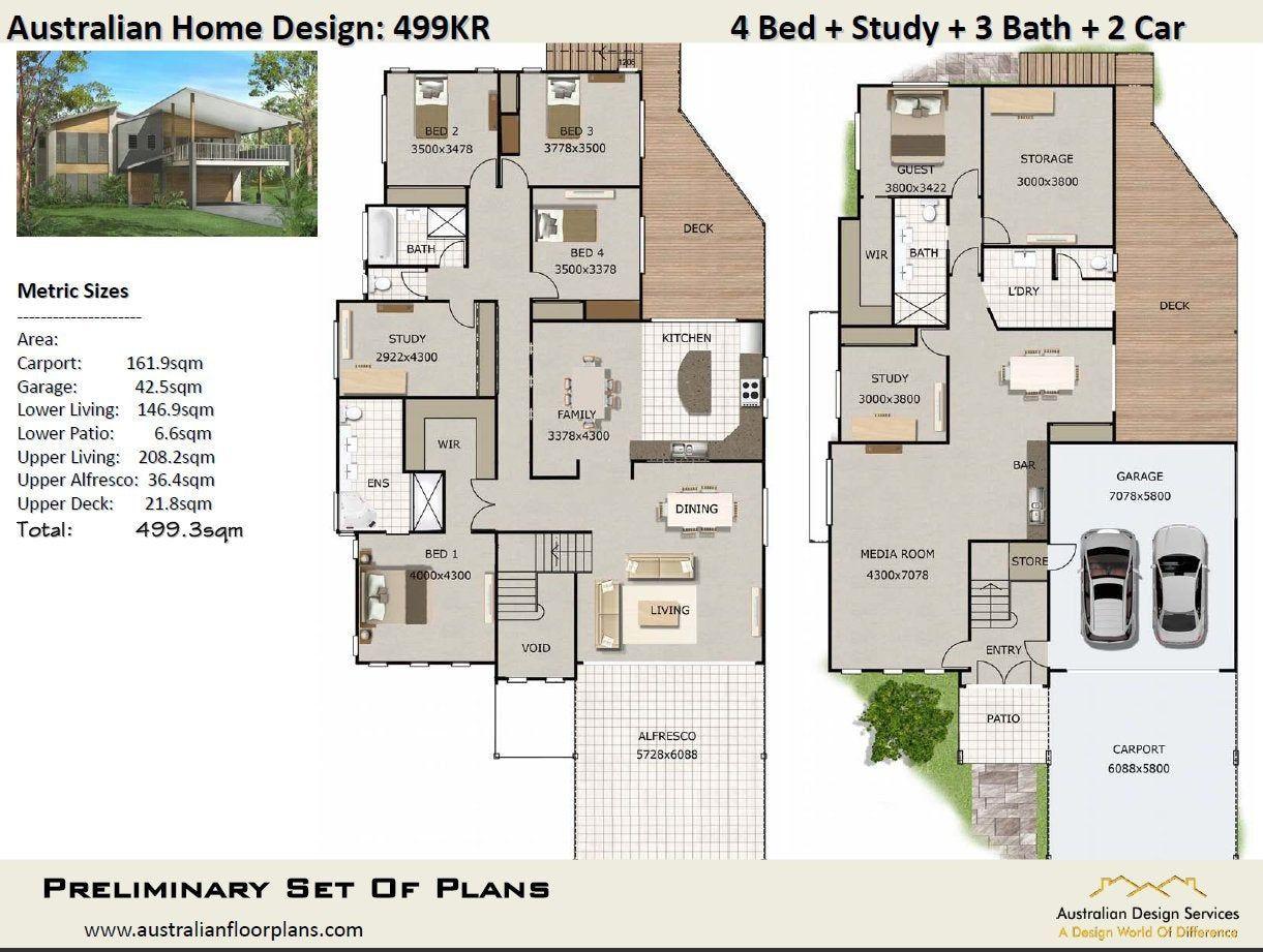 499 3 M2 499kr Skillion Roof 2 Storey 5 Bed 3 Bath Etsy Skillion Roof House Design House Plans For Sale