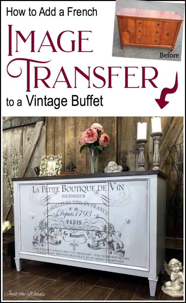 French image transfer on painted vintage buffet   Möbel