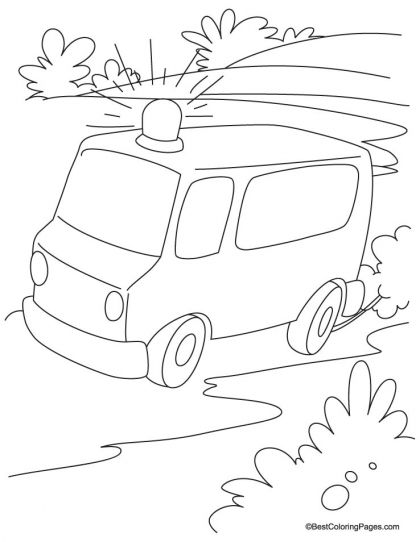 Emergency ambulance van running on the road coloring page | Download ...