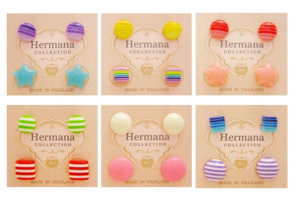 Cute 12 Pairs Lot of Flower Kids Girls Plastic Soft Post Stud Earrings Women A1 #Stud