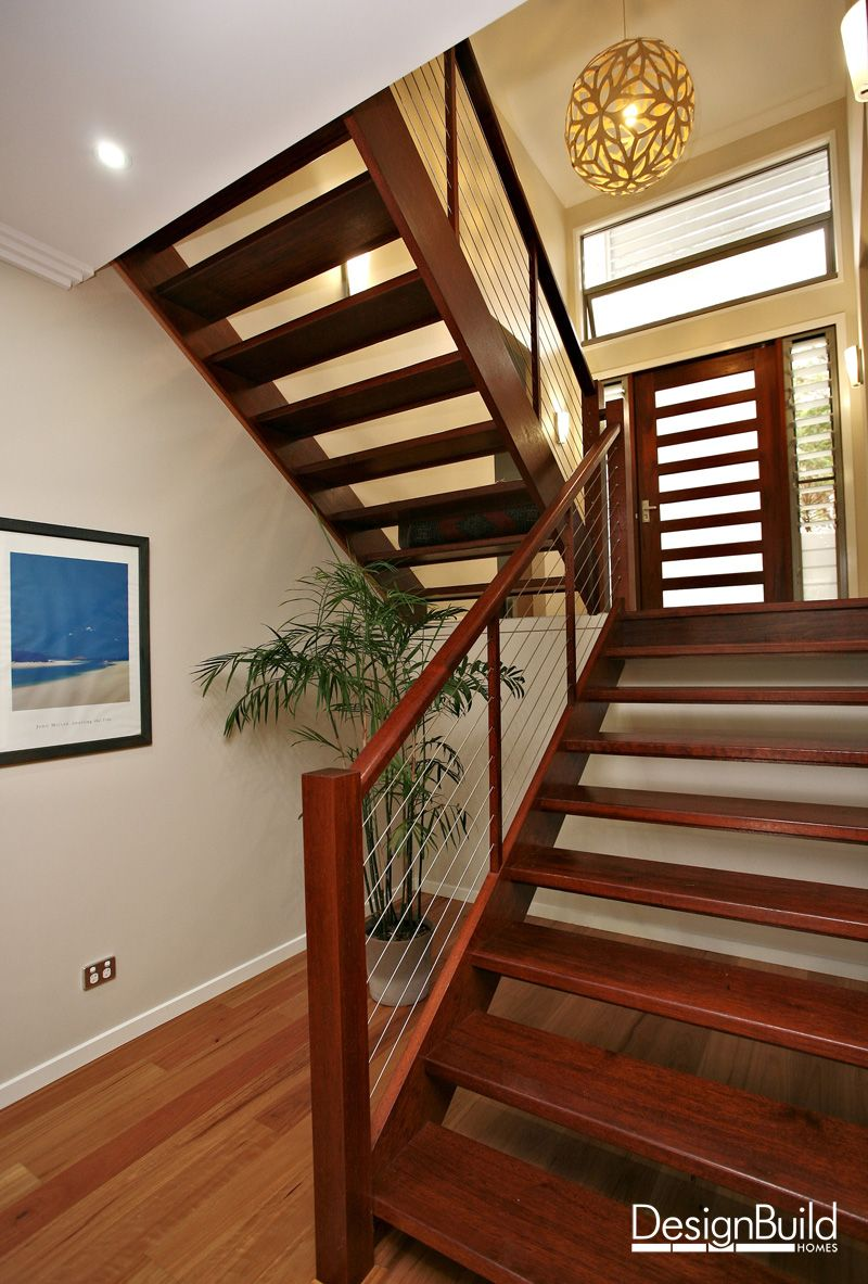 Interior Staircase With Feature Pendant Lamp Split Entry