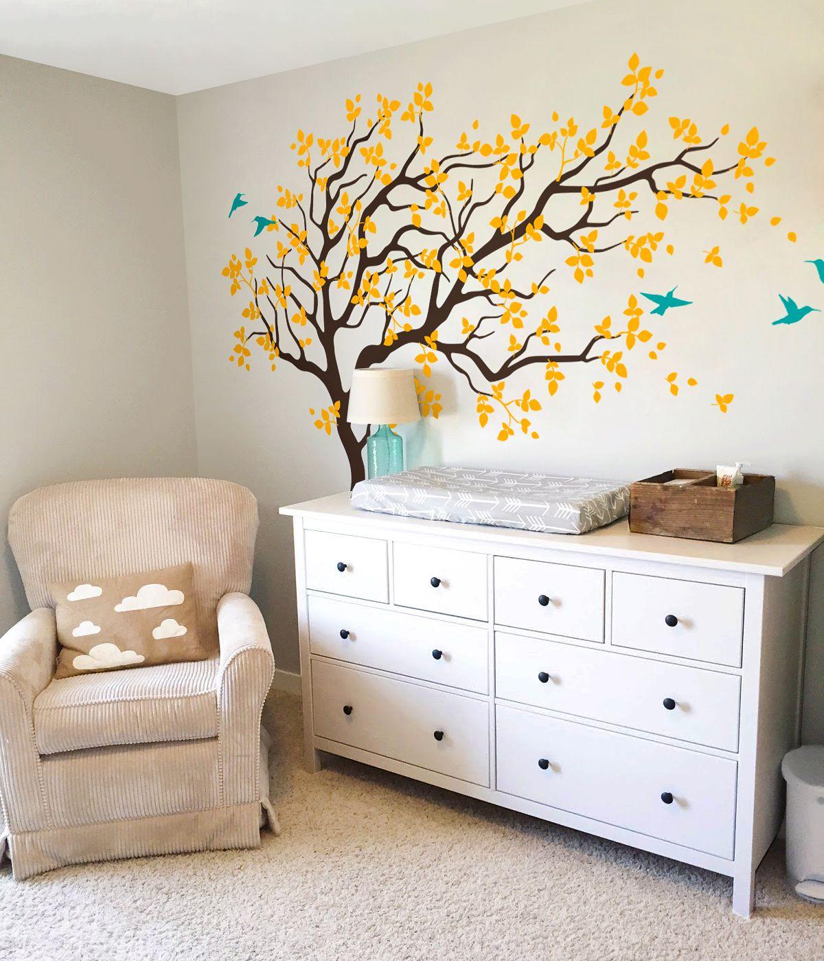 Beautiful Tree Wall Decal With Birds Mural For Kids Room Nursery Beautifultree Yellowleaves