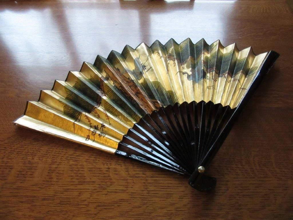 Large Vintage Wall Hanging Chinese Fan Box Gold Foil Black Lacquer Large Wall Hanging Bamboo Fan Birds Crane Hand Vintage Walls Hand Painted Signs Asian Decor