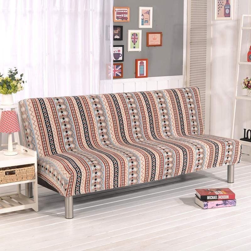 Stretch Sofa Cover Elastic Couch Armless Slipcovers Bed Covers For Livingroom Bohemia Red V20