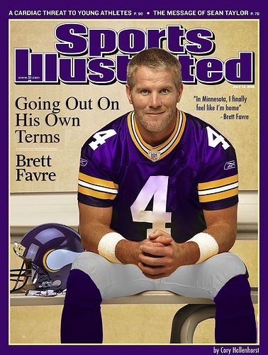 9f5709aae Brett Favre In Minnesota Vikings Uniform On Sports Illustrated ...