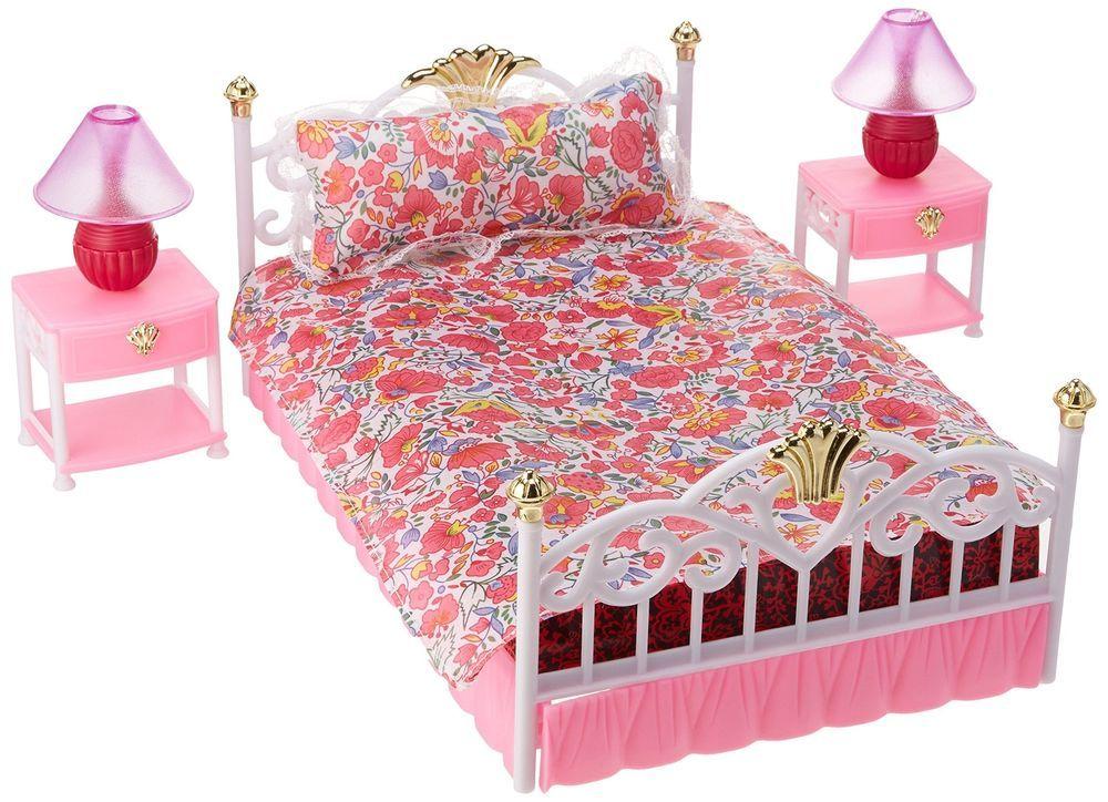 Dollhouse Barbie Doll Bedroom Play Set Bed Nightstand Girls Toys Kids Furniture Dollhousebarb Barbie Bedroom Furniture Barbie Bedroom Dollhouse Furniture Sets