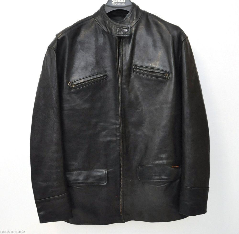 Mens DICTADOR Black Fine Leather Zip-Up Motorcycle Biker Jacket Size L Large