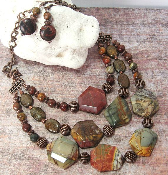 Earthy MultiStrand Red Creek Jasper & by HeartofOneCreations, $89.00