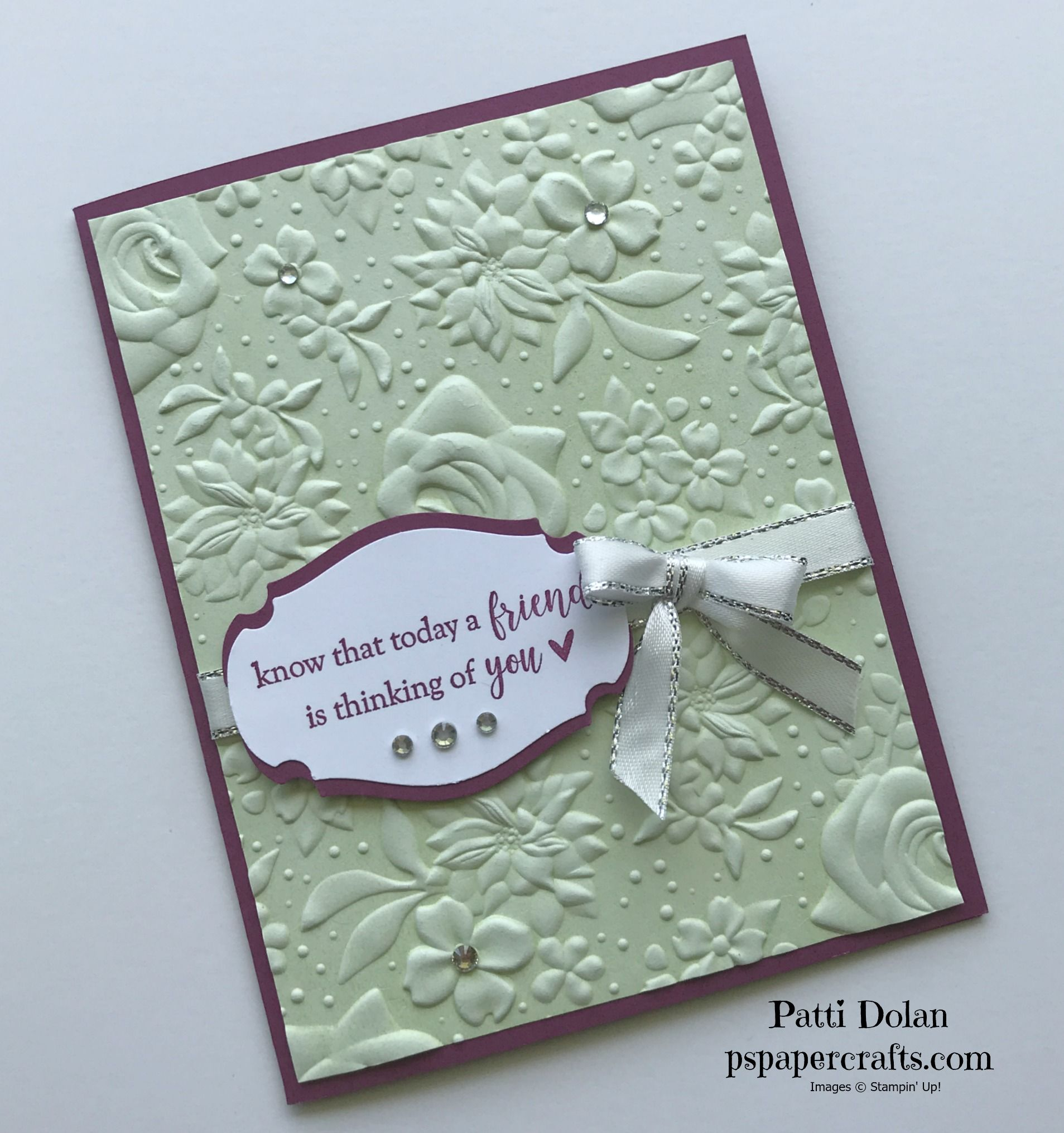 Country Floral Thinking Of You Card Embossed Cards Stampin Up Birthday Cards Handmade Birthday Cards