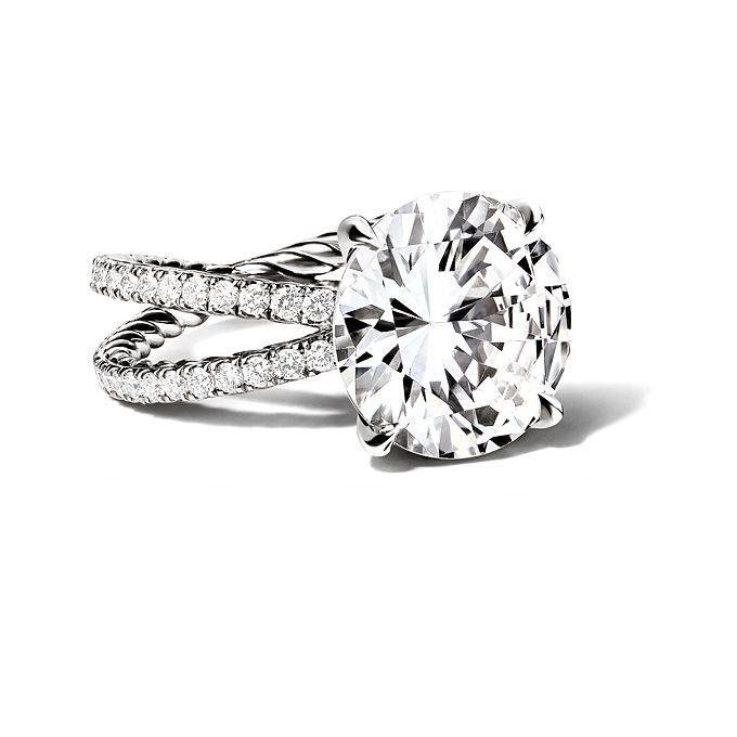 David Yurman Crossover Engagement Ring with RoundCut Diamonds