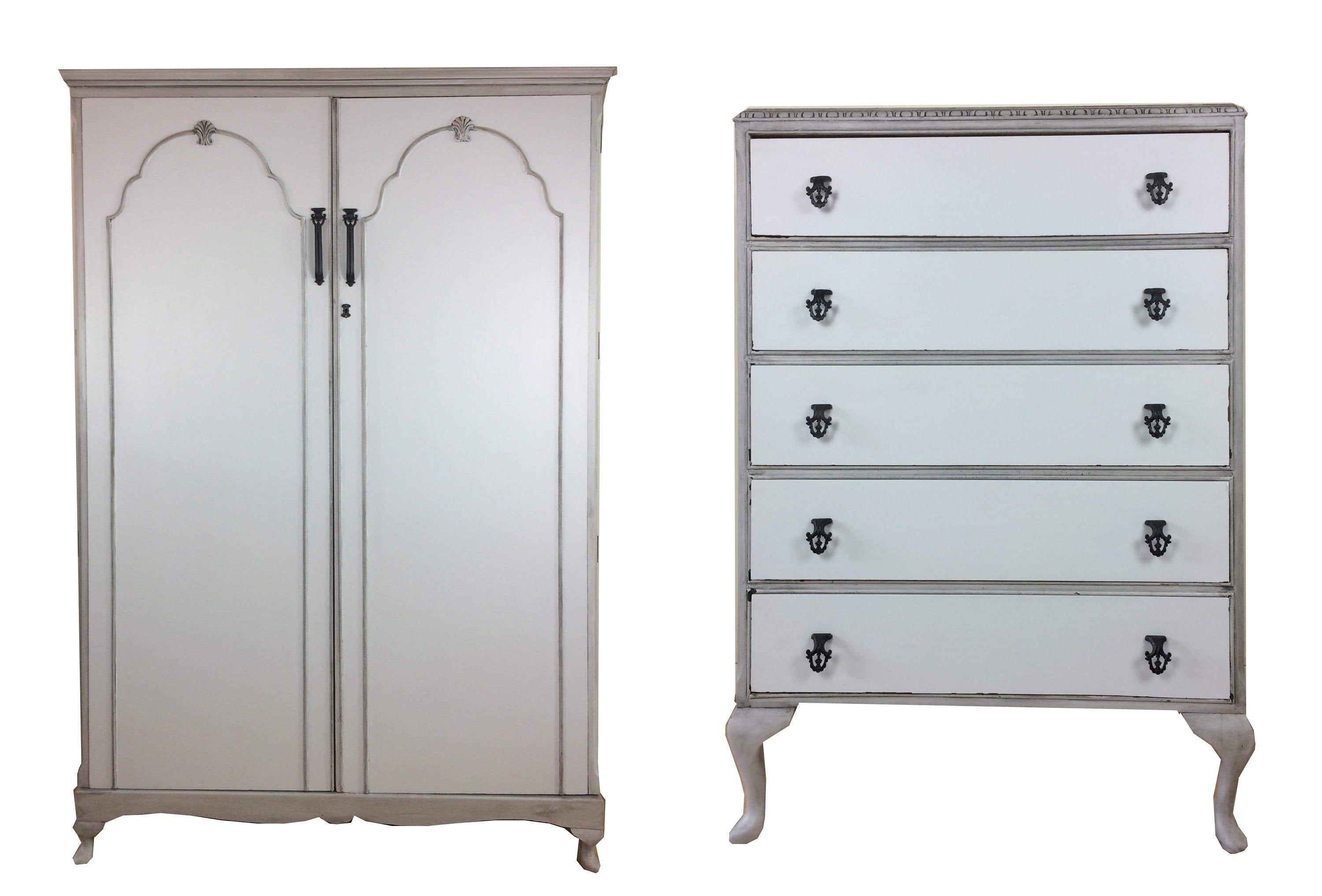 Grey Large Heavy French Country Style 2 Piece Bedroom Set Wardrobe Chest Of Drawers Dresser Tallboy With French Country Style Dresser Drawers Furniture Shop [ 2034 x 3000 Pixel ]