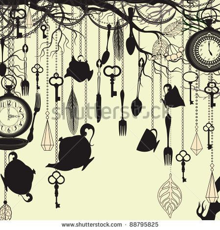Antique Background With Tea Party Theme Alice In Wonderland