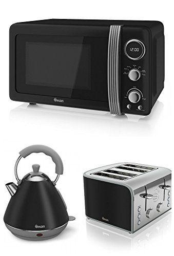 Swan Kitchen Appliance Retro Set - Black Microwave, 2L Black Pyramid ...