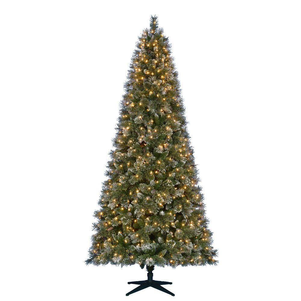 Martha Stewart Living 9 ft. Pre-Lit LED Sparkling Pine Quick-Set ...