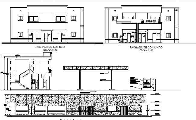 Gas Station Building Elevation And Sectional Details Dwg File Building Elevation Gas Station Station