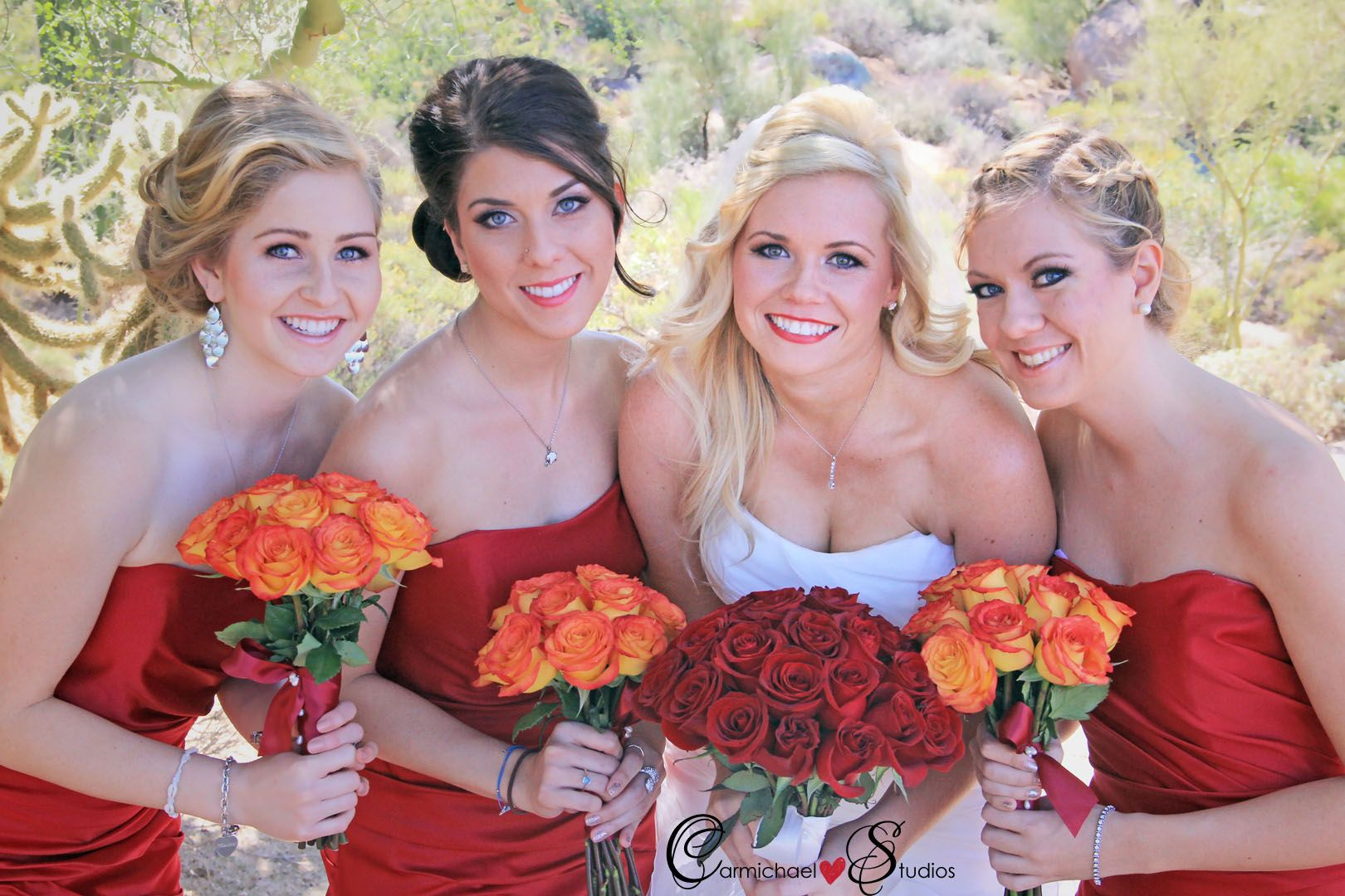 Red and Orange Wedding Colors, Red Bridesmaids Dress, Scottsdale ...