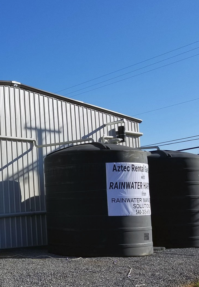 20 000 Gallon Rainwater Harvesting System At Aztec Rental In Salem This System Has Two Rainwater Harvesting Rainwater Harvesting System Rain Water Collection