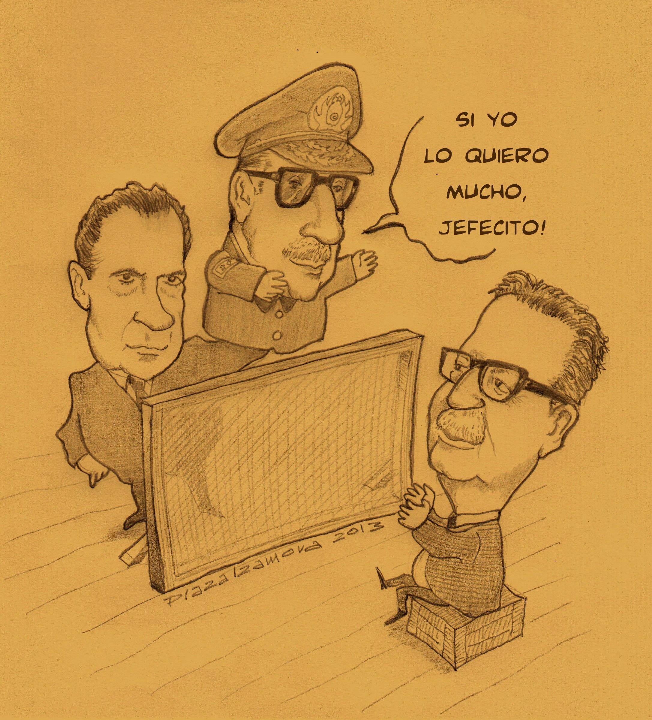 Caricatura Humor Grafico Pinochet Allende Y Nixon Humor Nixon Male Sketch
